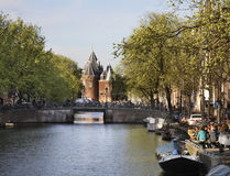 Canal in Amsterdam town. Netherlands royalty free stock photography
