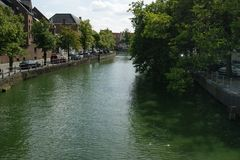 Canal of Amsterdam. View of canal in Amsterdam stock photography