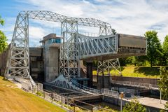 Free Canal And Lift Lock Viewed From Lower Level In Kawartha Lakes, Ontario, Canada Royalty Free Stock Photo - 151650225