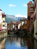 Canal at Annecy ( France ). View of a canal in the city of Annecy Stock Photography