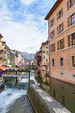 Canal at Annecy, France. The Thiou Canal with olld houses at medieval town Annecy, France Royalty Free Stock Photos