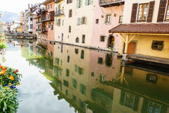 Canal at Annecy, France. The Thiou Canal with olld houses at medieval town Annecy, France Royalty Free Stock Images