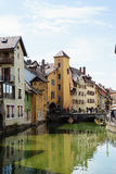Canal at Annecy, France. The Thiou Canal with olld houses at medieval town Annecy, France Royalty Free Stock Photography