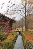 Canal ao longo da vila de Shirakawago foto de stock