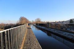 Canal Aqueduct with Runner royalty free stock photos