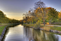 Canal in autumn. Royalty Free Stock Photography
