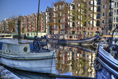 Canal in autumn in Amsterdam, Holland Stock Photo
