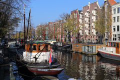 Canal in autumn in Amsterdam, Holland Stock Photography