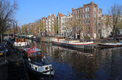 Canal in autumn in Amsterdam, Holland Stock Image