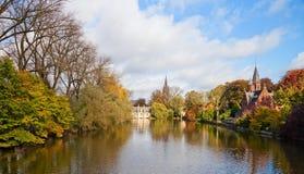 Canal in autumn of Bruges, Belgium. Stock Image