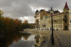 Canal and Autumn Colours, Gothenburg Sweden Royalty Free Stock Image