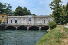 Canal Bacchelli Cremona, Lombardy, Italy. Canale Bacchelli Cremona, Lombardy, Italy, a canal built in the 18th century thanks to senator Pietro Vacchelli stock photo