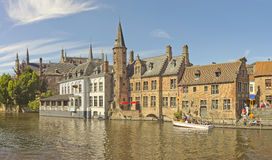 On the canal bank in Brugge. Historical buildings on the canal bank in Brugge, Belgium Royalty Free Stock Photos