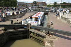 Canal barge in lock Royalty Free Stock Image