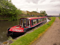 Canal barge moored near Blackburn Stock Image