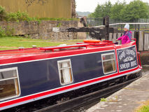 Canal barge negotiating the locks Stock Photography