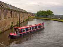 Canal barge negotiating the locks Royalty Free Stock Photos