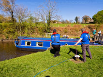 Canal barge rescued Royalty Free Stock Images