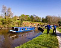 Canal barge rescued Royalty Free Stock Photos