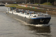 Canal barge underway, Mons, Belgium. Royalty Free Stock Photography