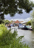 Canal with barges Royalty Free Stock Photo