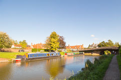 Canal Barges  on the Kennet and Avon Canal in Hungerford is a historic market town and civil parish in Berkshire, England. Canal House boats on the Kennet and Royalty Free Stock Image