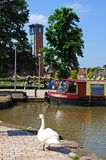 Canal basin and RSC, Stratford-upon-Avon. Royalty Free Stock Photos