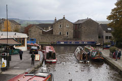 The canal basin, Skipton on 29 october 2010. View from the Coach Street Bridge in Skipton Stock Photos
