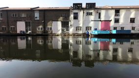 Canal basin and warehouses stock footage