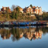 Canal basin Worcester uk stock photos