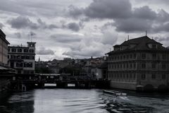 The canal through Zurich stock photography