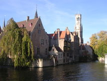 Canal and Belfry. Bruges royalty free stock images