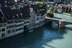 The canal through Bern stock images