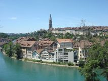 Canal in Bern, Switzerland. This is a picture I took of a canal in Bern, Switzerland back in 2011. There are a lot of buildings in the background royalty free stock image