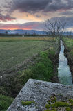 A canal in bevagna, Italy Stock Photo