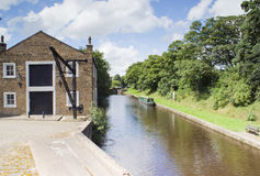 Canal Boat. Moored to towpath - landscape orientation Stock Photo