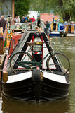 Canal boat with bicycle. On Etruria canal in the potteries England Stock Photography