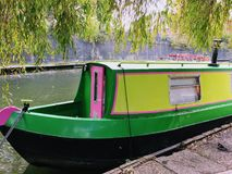 Canal boat. On Regents Canal, London Royalty Free Stock Photo