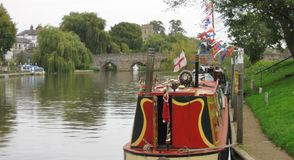 Canal boat flags stock images