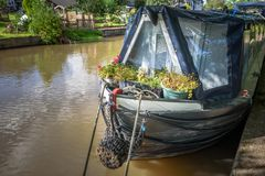 Canal Boat Flowers Stock Photo