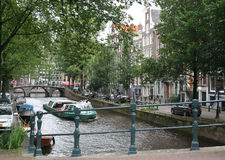 A canal-boat on the The Leidsegracht. Stock Image