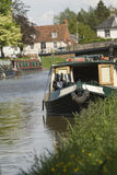 Canal boat at moorings. Royalty Free Stock Photos