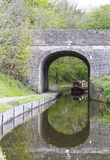 Canal boat near tunnel Stock Images