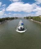Canal Boat in Paris Stock Photo