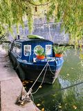 Canal boat. On pier on Regent's Canal, London Stock Image