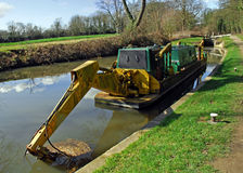 Canal Boat with Pneumatic Digging Arm Stock Photography
