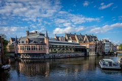 Canal boat ride in Ghent, Belgium, Europe Royalty Free Stock Photography