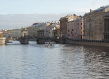 Canal and boat in Saint Petersburg Stock Images