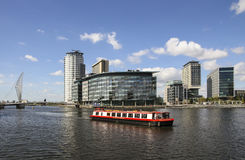 Canal boat, Salford Quays, Manchester, England Royalty Free Stock Images