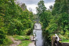 Canal for boat transportations Stock Photos